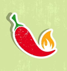 Chilli pepper label vector image vector image