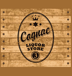 cognac label on wooden background vector image vector image