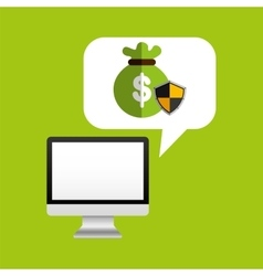 Computer protection bag money icon design vector