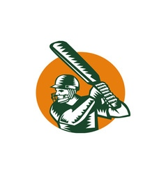 Cricket player batsman batting circle woodcut vector