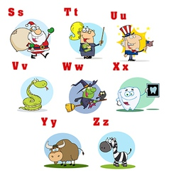Funny Cartoon Alphabet Collection 3 vector image vector image