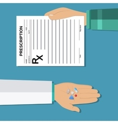 hands holds a prescription rx form and pills vector image vector image