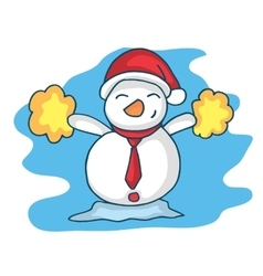 Happy snowman character christmas theme vector