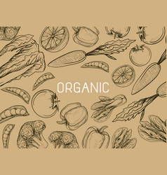 Healthy organic eco vegetarian food logo design vector