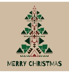 hipster christmas tree in tribal style vector image vector image