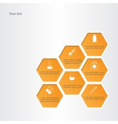 Honeycomb with medical flat icons vector image