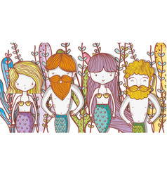 Little mermaids cute cartoons vector