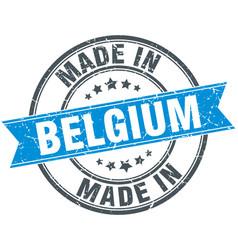 Made in belgium blue round vintage stamp vector