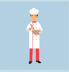 male chef cook character in uniform holding mixing vector image
