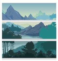 Picturesque landscape horizontal banners vector