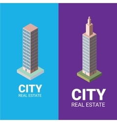 Real estate logo isometric office tower vector
