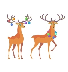 Reindeer christmas icon moving deer vector