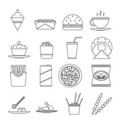 retro flat fast food icons line art symbols set vector image vector image