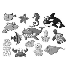 Sea ocean cartoon animals fishes icons set vector