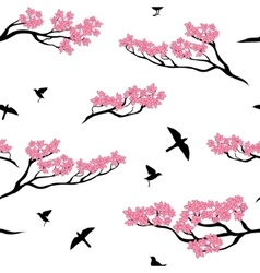 Seamless pattern of sakura tree vector image