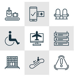 set of 9 airport icons includes internet ticket vector image vector image