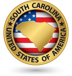 South Carolina state gold label with state map vector image