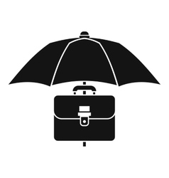 Umbrella and business case icon simple style vector