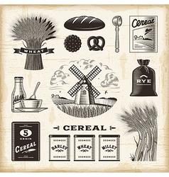 Vintage cereal set vector