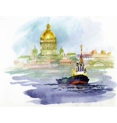 Watercolor river landscape with church and boat vector