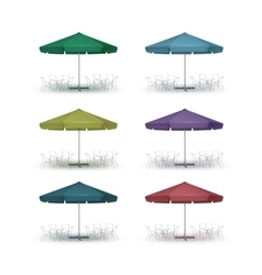 Set of Colored Outdoor Beach Cafe Round Umbrella vector image