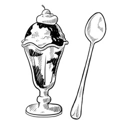Doodle desserts cupcake cookie icecream cone vector