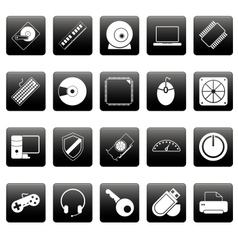 Computer icons on black squares vector