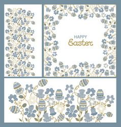 Easter ornament frame flowers and paschals eggs vector