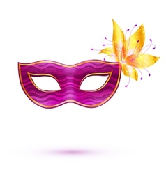 Purple isolated carnival mask with golden flower vector