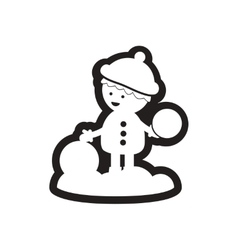 Flat icon in black and white boy snow vector