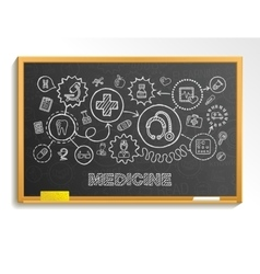 Medical hand draw integrate icon set on school vector