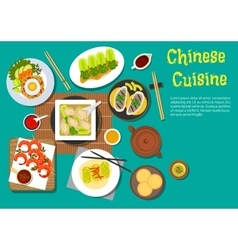 Traditional chinese dinner top view flat icon vector