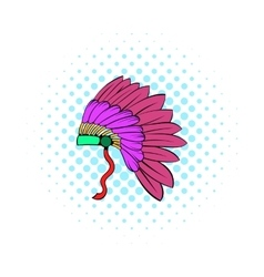 Native american feather headdress icon vector