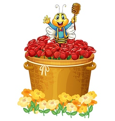 A happy bee above the basket of flowers vector image