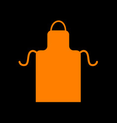 Apron simple sign orange icon on black background vector