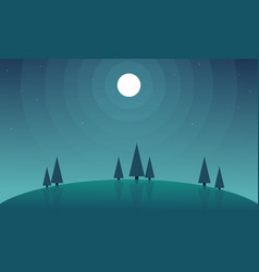 Background hill scnery at night style vector