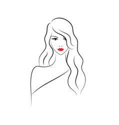 beautiful fashion model with long hair vector image