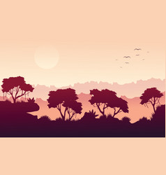 Beauty landscape rain forest silhouette style vector