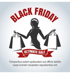 Black friday sale emblem with shopping woman vector
