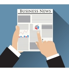 Businessman holding Business News newspaper vector image vector image