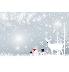 christmas background design of reindeer and pine vector image