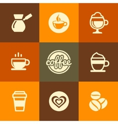 Coffee Icons Set in Flat Design Color Style vector image vector image