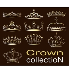Crown collection set vector image