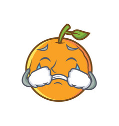 Crying orange fruit cartoon character vector