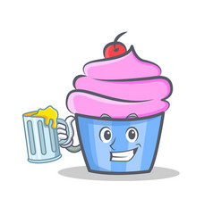 cupcake character cartoon style with juice vector image