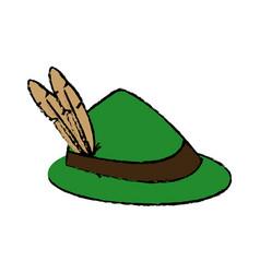 Feather of hat oktoberfest decoration celebration vector
