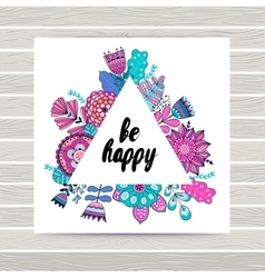 Floral card in triangles frame vector