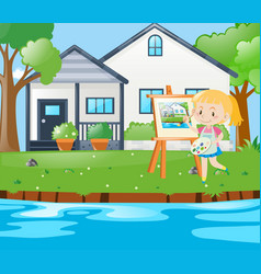 Girl painting house on canvas vector