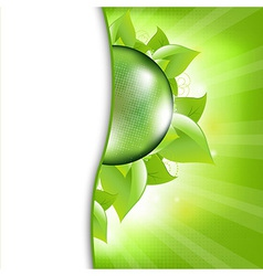 Green Eco Background With Leafs And Globe vector image