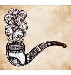 Hand drawn ornate tobacco pipe smoke coming out vector